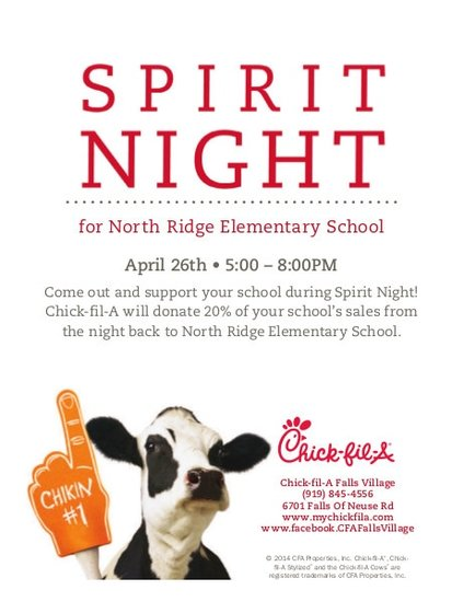 Spirit Night for North Ridge Elementary School April 26th 5:00pm to 8:00pm.  Come out and support your school during Spirit Night!  Chick-fil-A will donate 20% of your school's sales from the night back to North Ridge Elementary School.